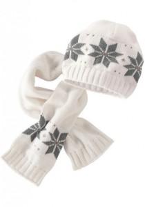 шапка и шарф с узором снежинка