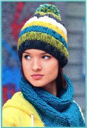Простая шапка и шарф шахматкой