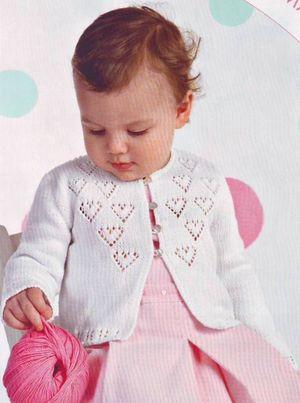 Вязание кофточки с сердечками