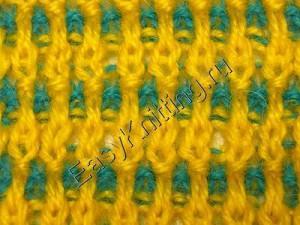 Вязание цветной резинки спицами